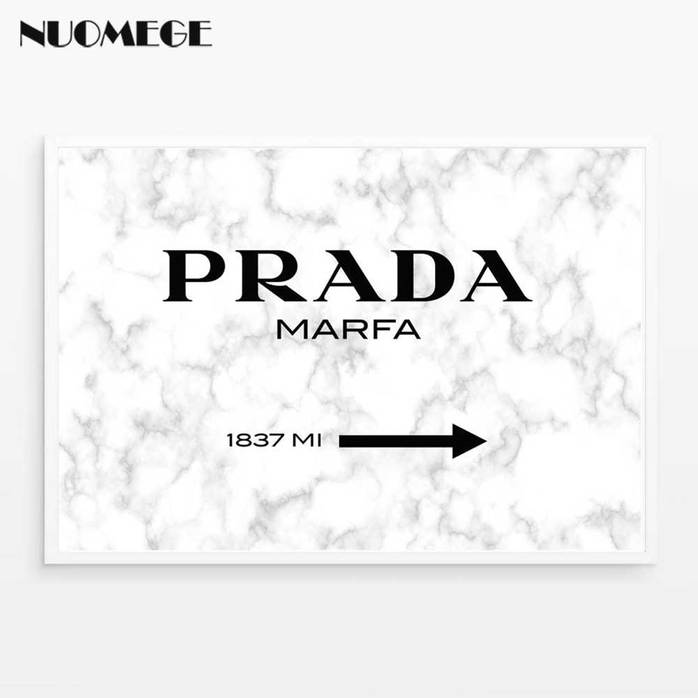 Marble make up wall art chanel fashion poster print prada marfa sign canvas painting picture for living room nordic wall decor