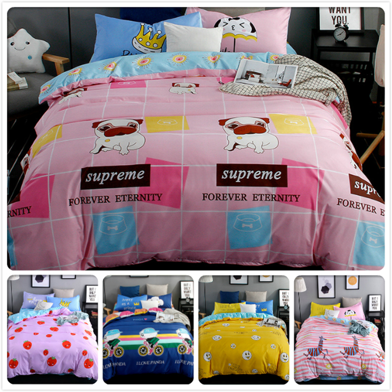 3/4 pcs Bedding Set Cute Dog Kids Bedclothes 1.2m 1.5m 1.8m 2m Flat Sheet Bed Linens King Queen Double Size Duvet Cover Bedlinen