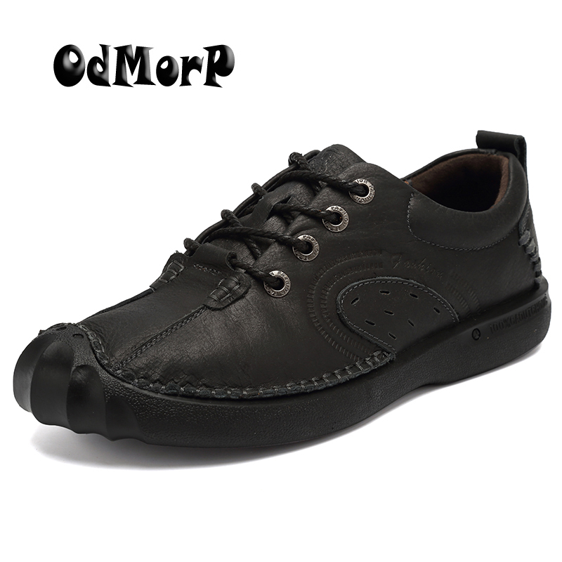 ODMORP New Fashion Men Shoes Genuine Leather Casual Shoes Handmade Comfort Flat Shoes For Men Nonslip Quality Rubber Black Brown 2017 new real superstar sale mens shoes casual flat men vintage retro custom doug luxury leather handmade fashion genuine