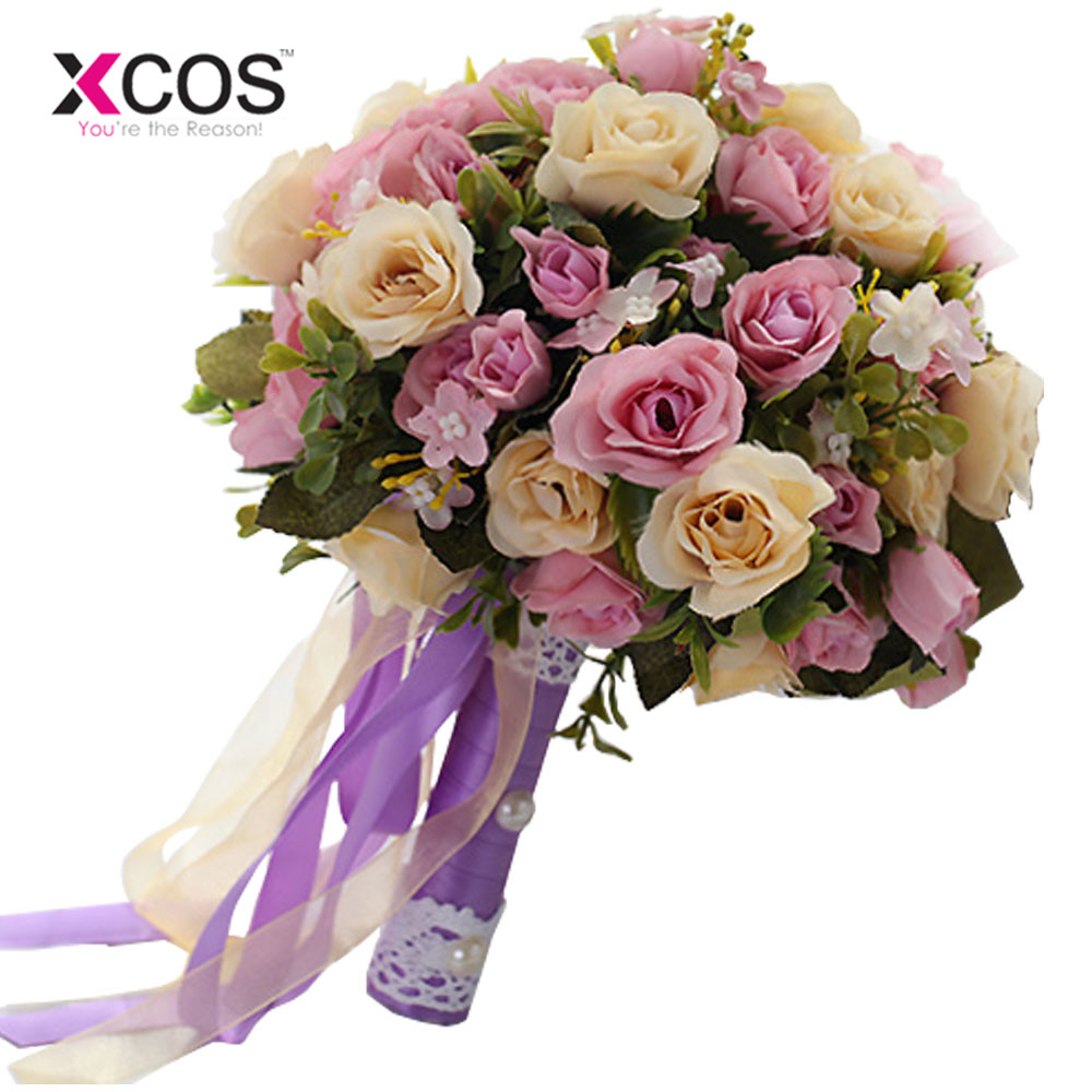 2017 pink white wedding bouquet handmade artificial flower rose 2017 pink white wedding bouquet handmade artificial flower rose buque casamento bridal bouquet for wedding decoration in wedding bouquets from weddings izmirmasajfo