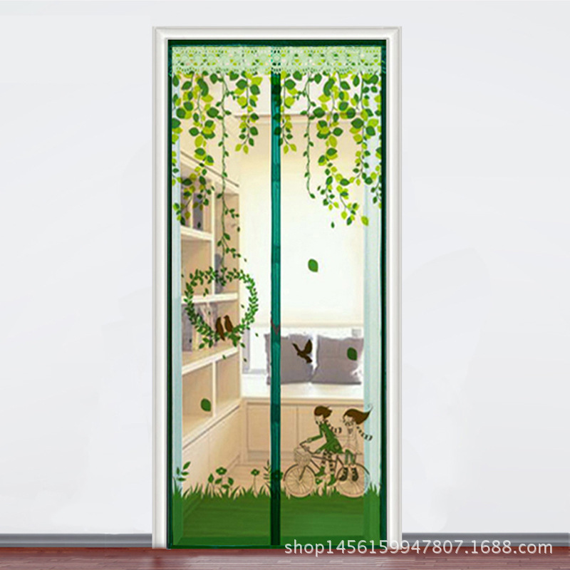 2017 New Time-limited High-grade Square Grid Mosquito Curtain Silent Summer Cartoon Lovers Printing Magnetic Ruansha Gauze Door