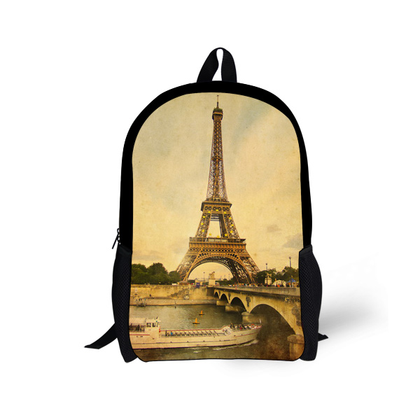 Designer 17 inch Children Paris Eiffel Tower Printing Backpacks Vintage Canvas Kid's School Bag for Girls Women Backbag Mochila