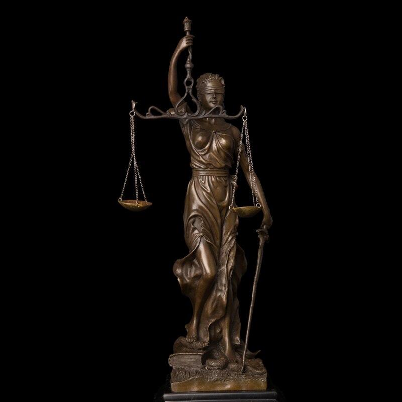ATLIE BRONZES Petit Lady Échelles de Justice Statue Bronze Art Artisanat Réplique En Laiton Sculpture Avocat de Cadeaux