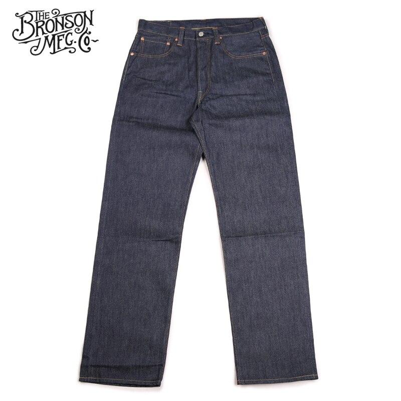 Bronson Repro 1947 modelo Vintage de los hombres de los pantalones vaqueros orillo rígido crudo azul Denim-in Pantalones vaqueros from Ropa de hombre    3