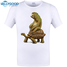 2017 Summer New Sloths and turtles Speed is Relative printed 3d Cool T Shirt Men Cotton T-shirt Funny Tops Tee Plus Size S-6XL
