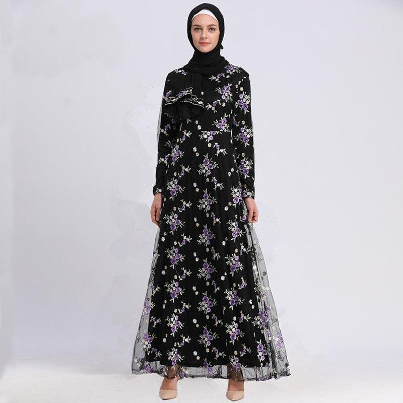 Abayas For Women Embroidery Floral Vestidos 2018 Qatar UAE
