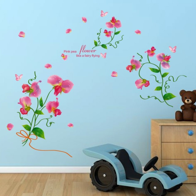 Family Wall Stickers Mural Art Home Decor Breath Of Spring Flowers Princess And The Pea Bedroom