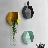 Creative Iron Geometric Diamond Shape Decoration Home Wall Vase Artificial Flower Holder Student Study Room Book Article Shelf