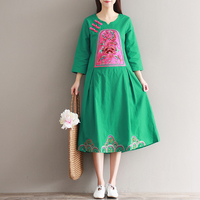 Original New Vintage Retro Dress Flower Embroidery Cotton And Linen Loose Robes