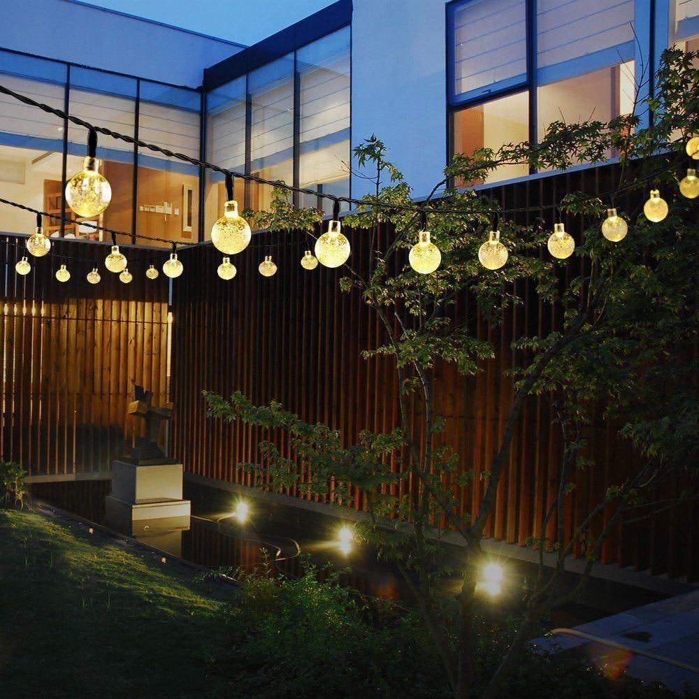 20ft 30 LED Solar String Light Crystal Ball Garden Yard Xmas Decor Lamp Outdoor