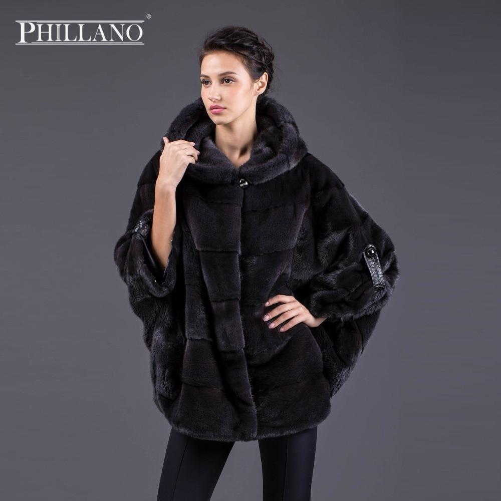 Hot PHILLANO nový batwing rukáv zimní ženy skutečná kožešinová bunda s kapucí Silný teplý Mink Skandinávie Dánsko NAFA Coats YG11033-70
