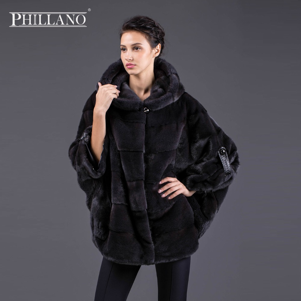 Hot PHILLANO New Batwing Sleeve Winter Women Real Fur Jacket With Hood Thick Warm Mink Scandinavia Denmark NAFA Coats YG11033-70