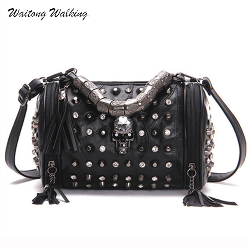 New Arrival Simple Luxury Women Bags Designer Rock Tsssel Rivet Handbags Barrel-shaped Bolsas Femininas sheepskin Bag b024 ivories повседневные брюки