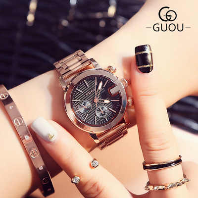 GUOU New Fashion Classic Watches small dial Women Wristwatch Luxury Stainless steel ladies quartz watch waterproof Clock Relogio guou new luxury classic ladies stainless steel watch fashion three eyes quartz women watches casual ladies gift wrist watch hot