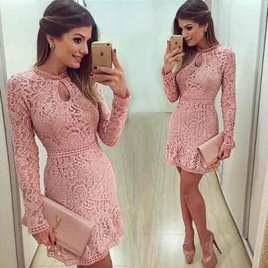 New Arrive Vestidos Women Fashion Casual Lace Dress 2017 O Neck Sleeve Pink Evening Party Dresses