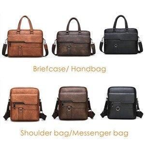 Image 3 - Maletín de negocios para Hombre, Bolsa de cuero, bolsas de mensajero de hombro, de trabajo, para portátil de 14 pulgadas, Masculina
