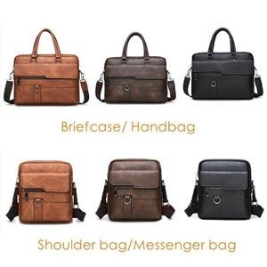 Image 3 - New Men Briefcase Bags Business Leather Bag Shoulder Messenger Bags Work Handbag 14 Inch Laptop Bag Bolso Hombre Bolsa Masculina