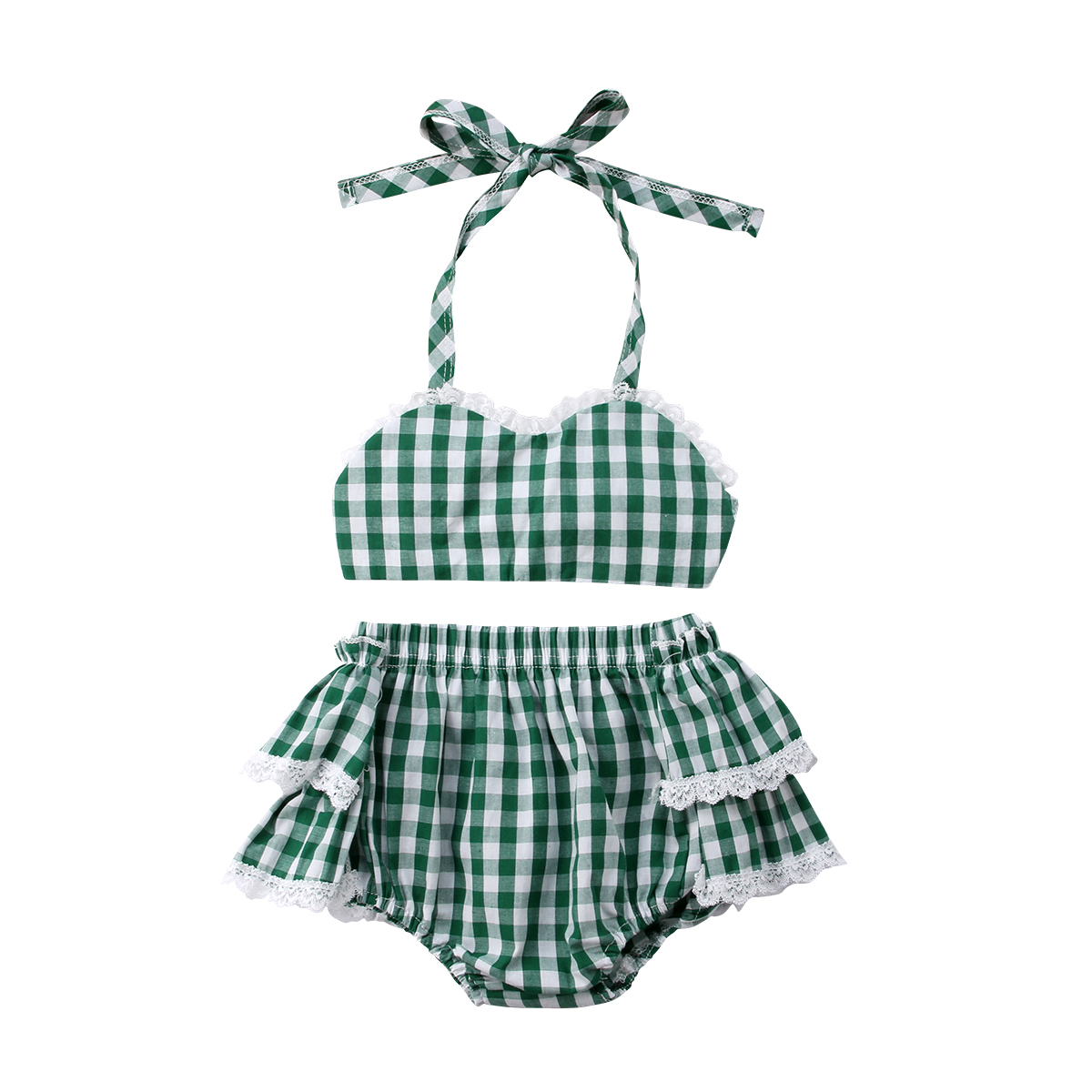 Lace Newborn Toddle Kids Baby Girls Plaid Crop Top Shorts Lace Ruched Skirt Summer Outfits Clothes Baby Girl 0-3T