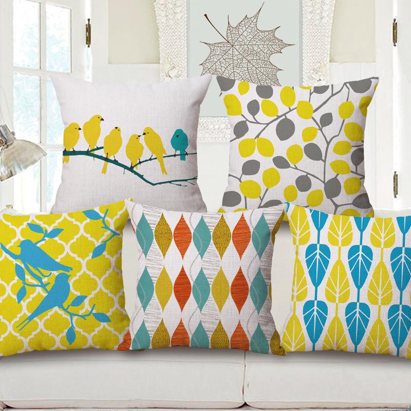 nordic simplicidad geometra amarillo coche de aves cojn decorativo funda de almohada fundas de almohada fundas