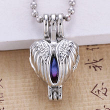 6pcs Silver Hollow Heart Wing Angel Design Jewelry Making Supplies Alloy Trendy Pearl Cage Locket Pendant Essential Oil Diffuser(China)