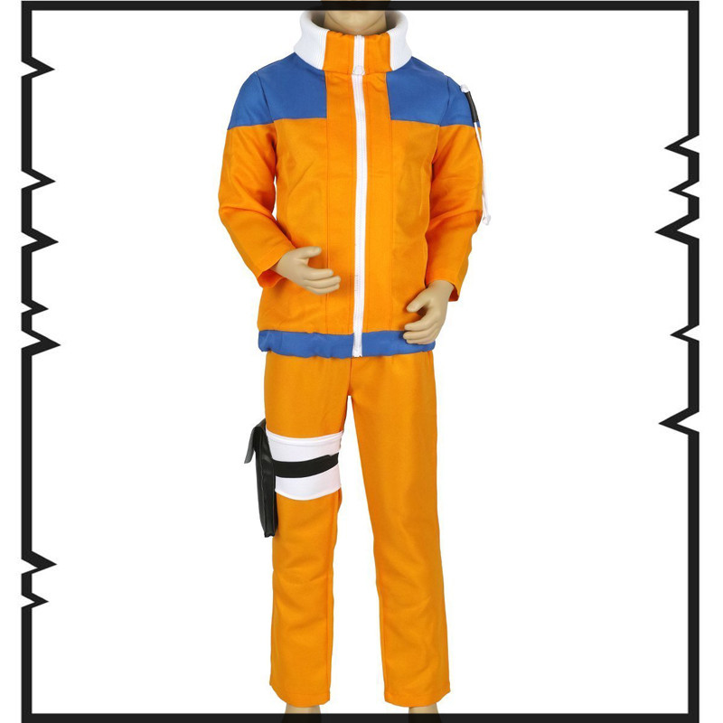 Kids Cosplay Anime Costume Hot Anime Naruto Cosplay Costume Naruto Uzumaki Cosplay For Halloween children euro size high quality