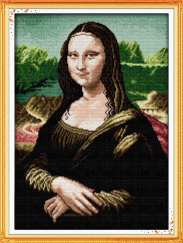 Híres Mona Lisa nyomtatott vászon DMC számított kínai keresztszemes készletek nyomtatott keresztszemes szett hímzés kézimunka