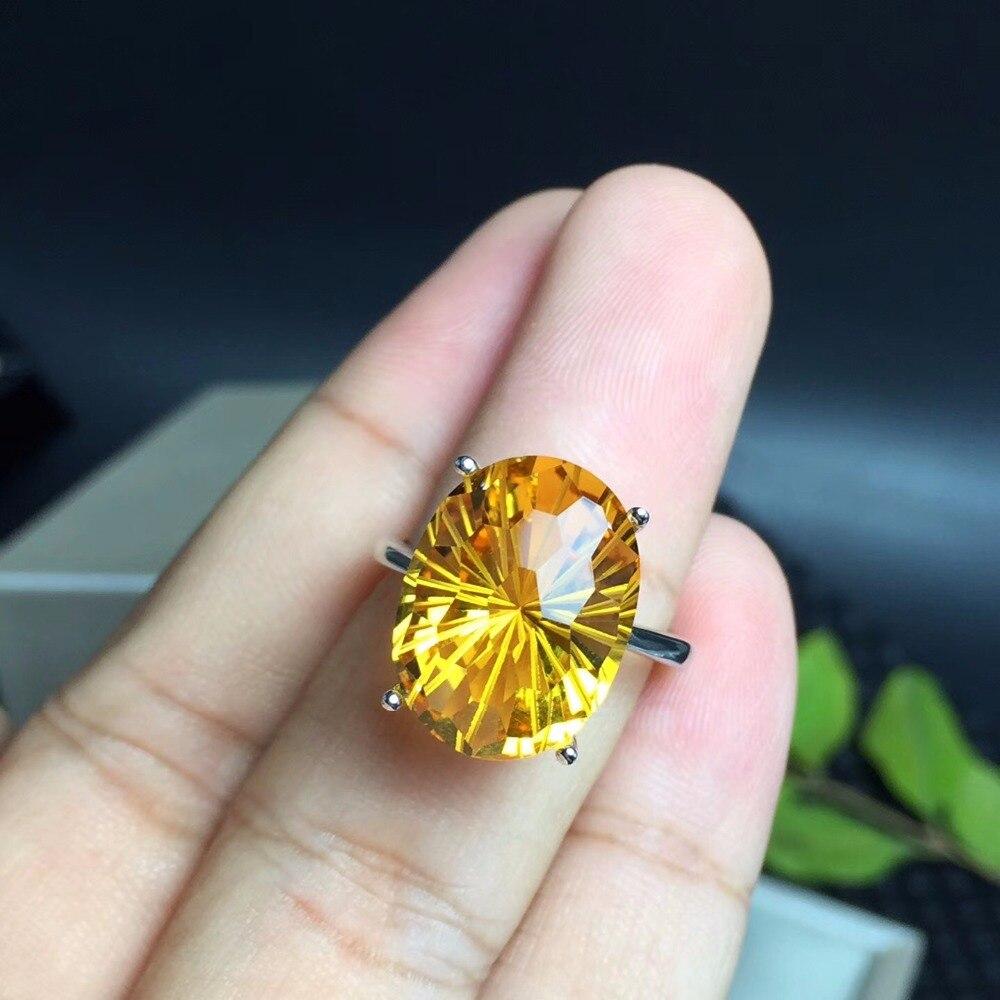 Anneau de citrine brésilien naturel, l'anneau de pierre gemme le plus éblouissant, la gemme préférée de la dame. 925 en argent sterling
