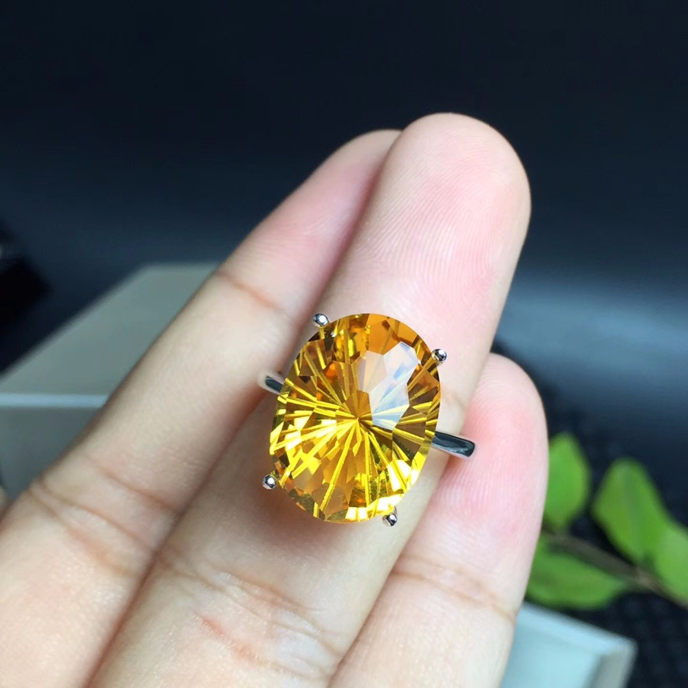 Natural Brazilian citrine ring, the most dazzling gemstone ring, the lady's favorite gem. 925 sterling silver