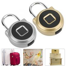 Mini Metal Gold/Silver Smart Electric Fingerprint Padlock with Battery for Bag Luggage Cabinet Drawer