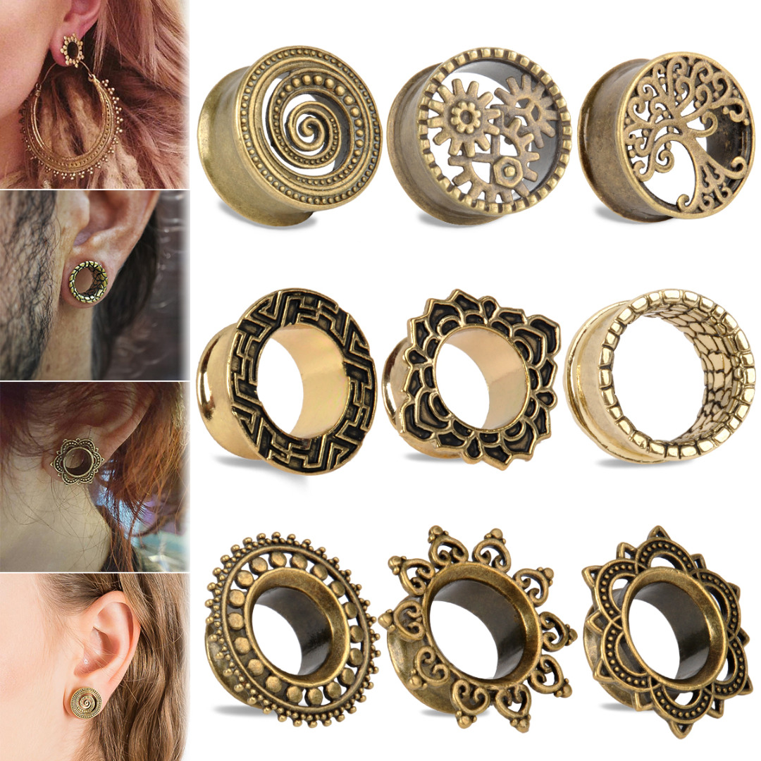 Pair of Gold Plated Gold Star Ear Tunnels Gauges Ear rings Flesh Plugs