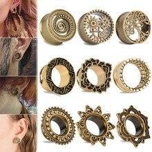 1Pair Vintage Antique Brass Ear Flesh Tunnel Shellhard Hollow Flower Double Flare Plug Gauge Piercing Body Jewelry