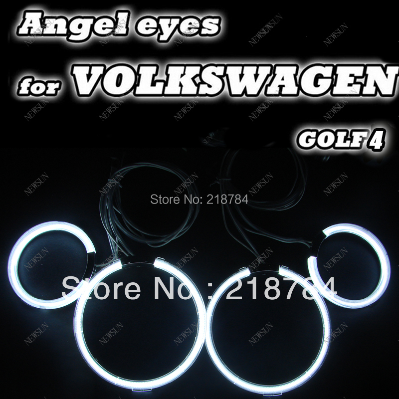 Free shipping, 8000k ultra bright ccfl angel eyes ring kits for VW GOLF4/auto headlight ccfl halo rings (4rings +2inverters) free shipping ccfl angel eyes for bmw e90 e90 non projector halo ring e90 ccfl angeleyes lights