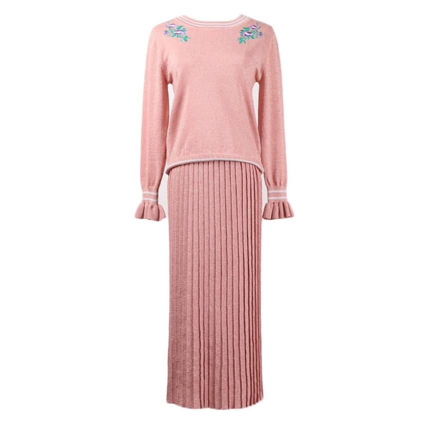 Green pink Longue Tricotés Designer Ensemble Femmes Longues Floral Plissée Jupes Chandail Costumes Deux Glittler Manches Piste Broderie Pour Pièces Tops 7UxHaa