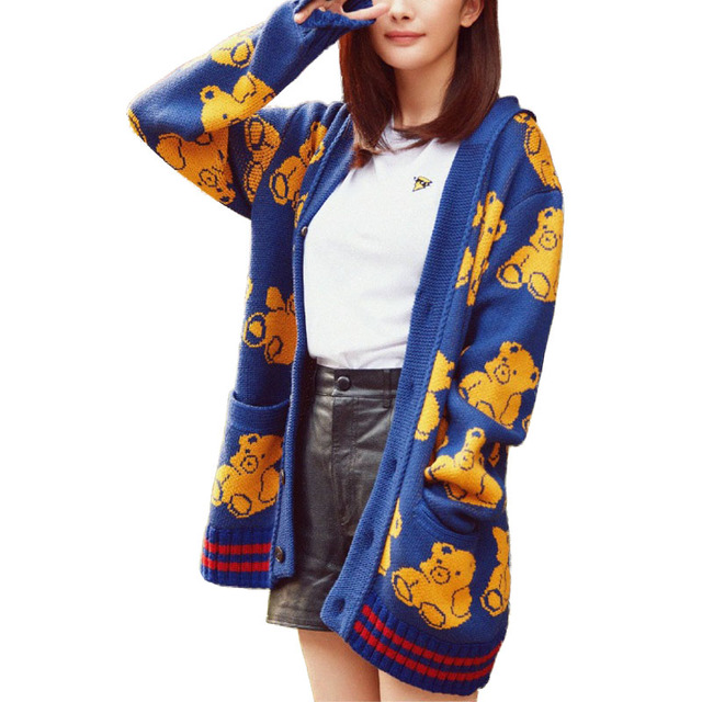 2016 Autumn Knitted cardigan Women Cute Bears Loose Long cardigan ...