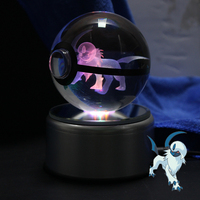 Glowing 3D Absol Laser Engraved Crystal Pokeball The Night light Perfect forPokemon Fans
