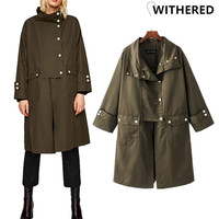Withered 2017 Winter Trench Coat European Hit Color Oversize Loose Army Spliced Collect Waist Long Trench