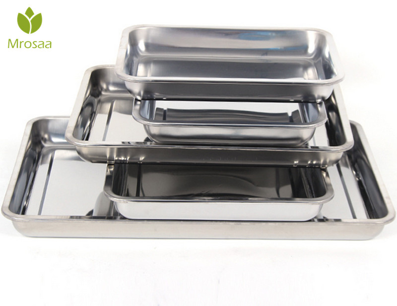 KCASA 27x20x2cm Stainless Steel cake baking food pans Dishes serving plate tray BBQ canteen bakeware tools grill ...