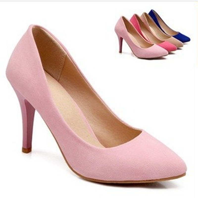 Ladies 3.5 Sexy plain pointed toe Cover heel  thin high heel flock wedding party dress shoes women pumps big size11 12 13 girls shoesofdream ladies high heel closed pointed toe solid plain pumps decoration handmade for wedding party dress stiletto shoes