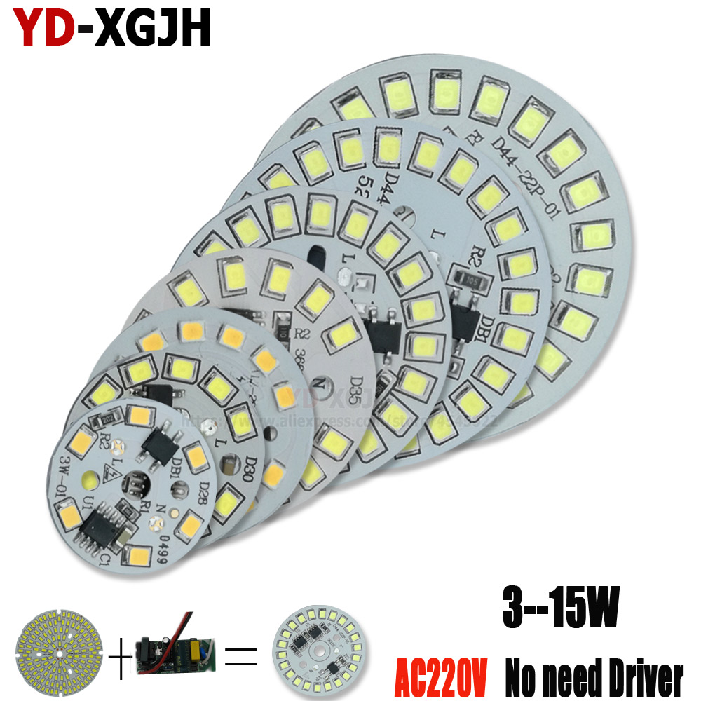 10PCS AC 220v Led PCB SMD 2835 Integrated Ic Driver Led Beads Smart IC SMD 3W 5W 7W 9W 12W 15W Led Light Source For LED Bulb