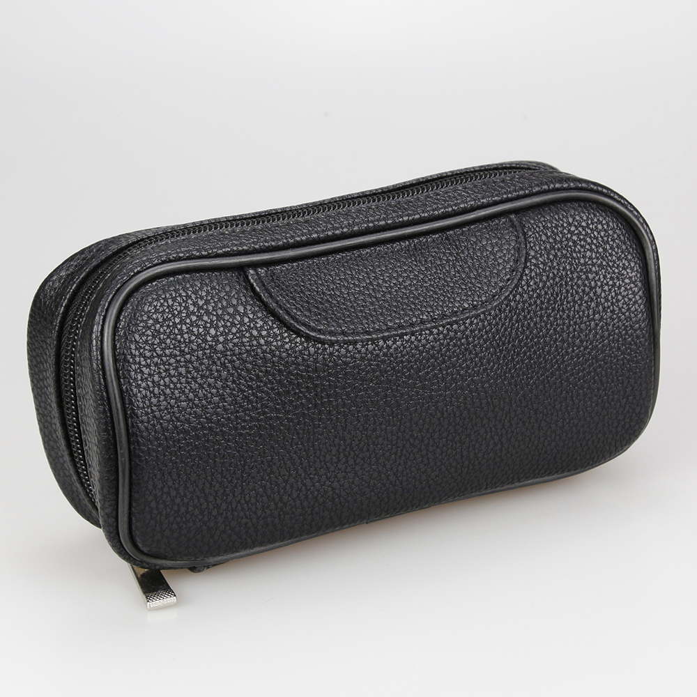 New Smoking Pipe Bag Litchi Pattern Black Leather Smoking Pouch Classic Tobacco Pipe Case Tobacco Pouch Smoking Bag for 2 pipes
