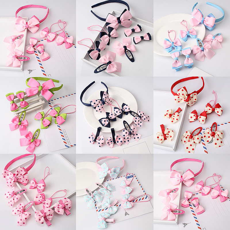 7 pcs Bowknot Headwear Set Children Accessories Printing Headband Hair clip Gum for Hair Hairband for Girls Headdress Hairpins lysumduoe headband black hairpin women clip s shape barrette girl hairgrip hairgrips children hairpins jewelry hair accessories