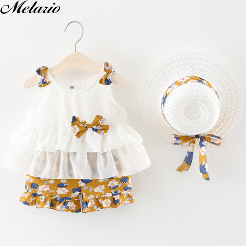 Melarie Children Clothing Sets 2018 Summer Children Girl Sets Straw Hat Bow Strap Princess Clothing Sets Top+Shorts Set for Kids