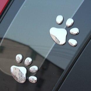 120 пар/лот) 3d собаки Авто Наклейки надписи знак черный автомобиль укладки автомобильные аксессуары - Название цвета: Серебристый
