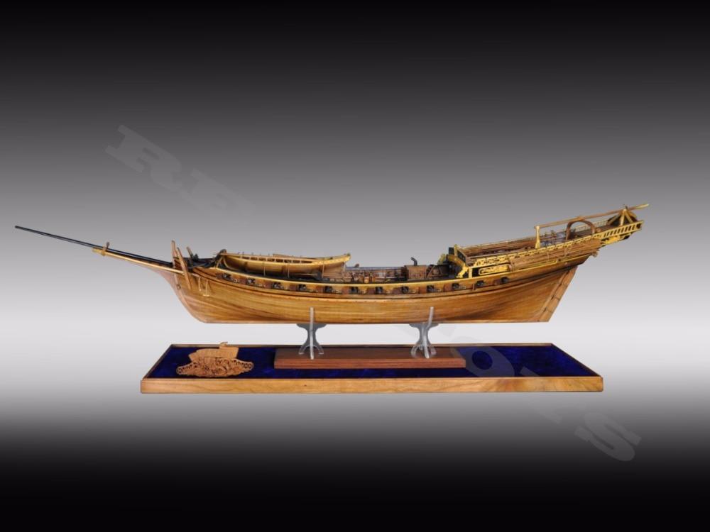 RealTS Klassisk trä segelbåt träskala LE REQUIN träfartygsmodell - Byggklossar och byggleksaker - Foto 3