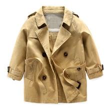 Hot Sale Baby Boys Trench Long Korean Spring New Style 2-Three-6 Kids Khaki Solid Belt Windbreaker Turn-down Collar Outerwear/Jacket