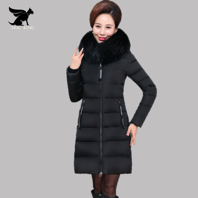 4 colors DOG KING 2017 Fashion Snow Wear Large Fur Collar Women Winter Coat Long Thick Slim Ladies Coats And Jackets Outerwear blackman malorie snow dog
