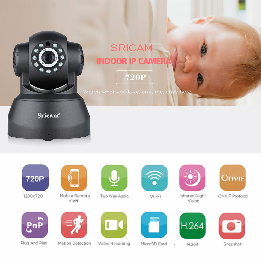 Sricam SP012 Wifi IP Camera 720P 1.0 Megapixel Wireless PT ONVIF IP Camera Baby Monitor Network Security Support 128G TF card 2017 cctv 8ch 720p dvr h 264 recorder ahd 8 channel cctv dvr 8 ch 720p network video recorder surveillance security dvr 3g wifi