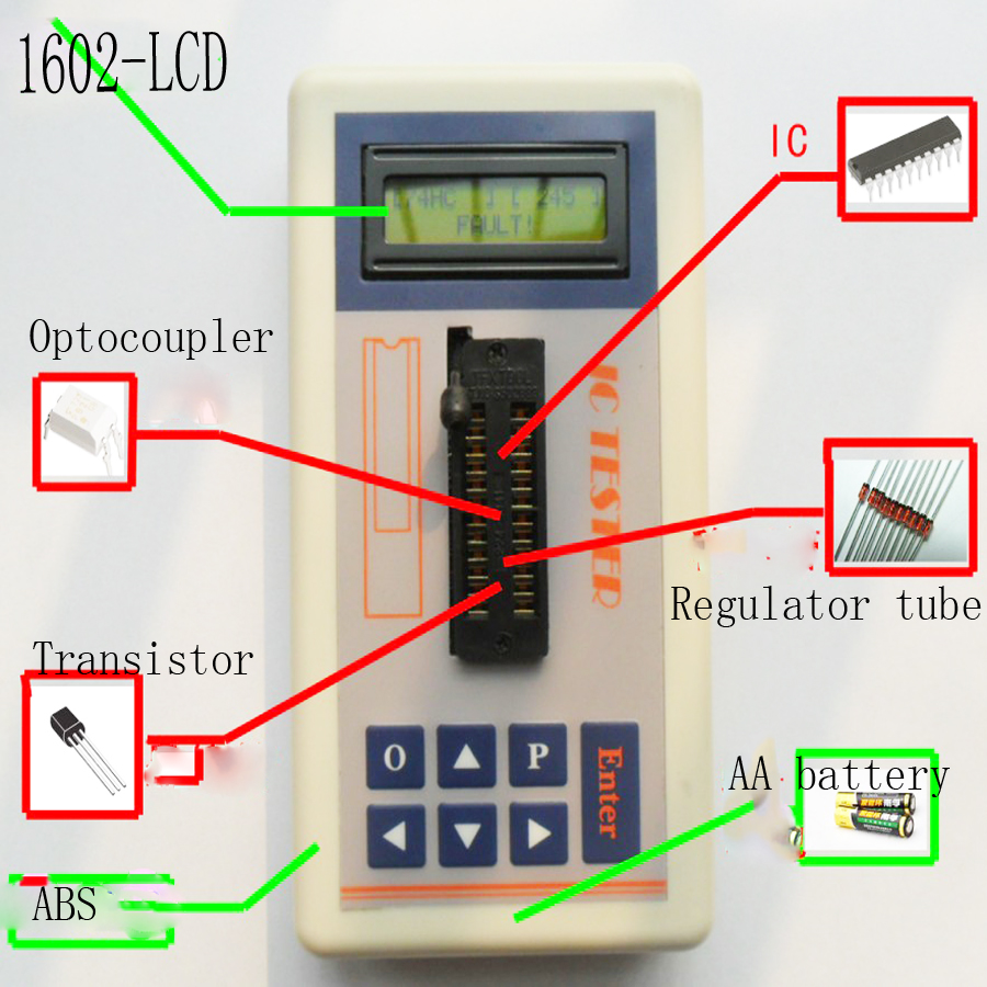 Integrated Circuit IC Tester transistor tester online maintenance Digital LED transistor ic tester the 7440 series of integrated circuit tester ic tester can judge whether the logic gate is good or bad