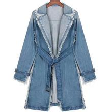 New Loose Coat Plus Size Trench Womens Long Denim Trench Coa