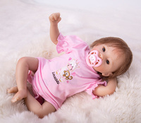 Pink princess doll 48cm Newborn Reborn Doll Toys Soft Silicone Vinyl Toddler Newborn big eyes bebe Doll Toys For Girls Gift kit